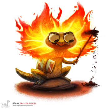 Daily Painting 1689# Grilled Lizard by Cryptid-Creations