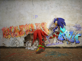 Sonic VS Knuckles by mixlou