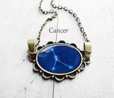 Handmade Resin Cancer Bronze Oval Necklace by crystaland