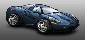 2004 Corvette C6 Cartoon by erikjdurwoodii