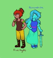 Fire Agate and Alexandrite by smoothitastic