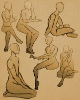 Sitting Poses 2 by GlassLotuses