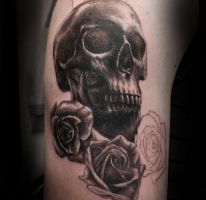 Realistic Skull and Roses WIP by t-o-n-e