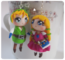 Link and Zelda chibi earrings by FairysLiveHere
