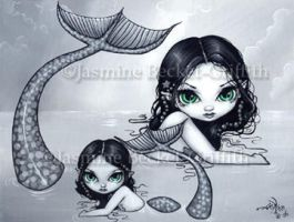 Mermaid Mother and Child by jasminetoad