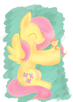 fluttershy  plays with her toy by XxTOxiCfoX5555551xX