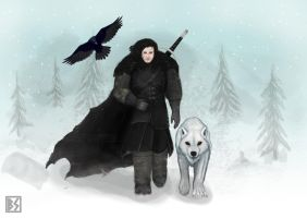 Jon Snow and Ghost by BastianSt