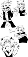 Lucy's Reaction to small Natsu by MrYien