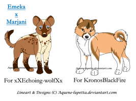 2-customs-shiba inu and hyena by Aquene-lupetta
