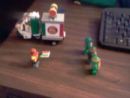 Lego:  Pizza Delivery To The Ninja Turtles by mewmewspike
