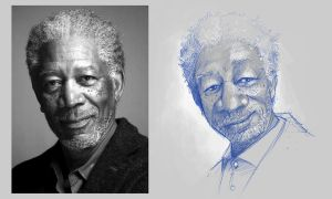 Sketch - Morgan Freeman by rafael-pires