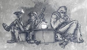 Han Solo and Chewbacca by petipoa