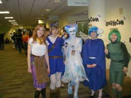 Me as Water Link with Ruto, Saria, Navi, and Malon by FuzzyRedPants