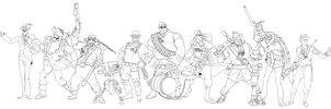 TF2 Loadout commission GROUPSHOT by halmtier