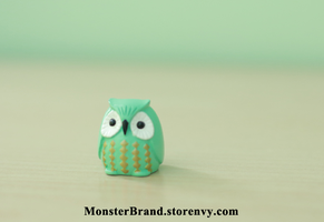 Tiny Mint Owl Figure by MonsterBrandCrafts