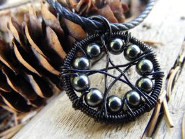 Hematite WireWrapped Pentacle2 by MoonLitCreations