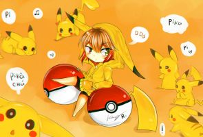 Piru and Pikachu by Kanotan