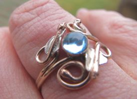 Blue Topaz  Leaf Ring in Gold and Silver by whippetgirl