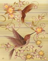 Hummingbirds - Marquetry by amazoncanvas
