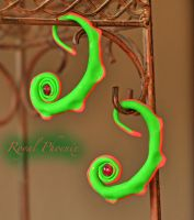 Lime Green And Pink Psychedelic Gauged Earrings by AnastasiyaPhoenix