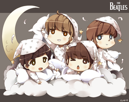 Chibi Beatles in Pajamas X3 by Radical-Rhombus-XD