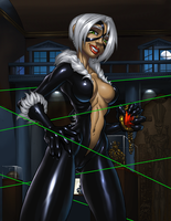 BlackCat on the Job by FoxxFireArt