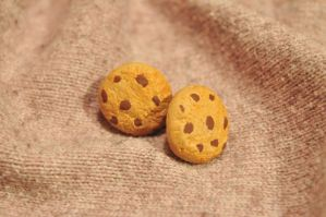 Miniature Chocolate Chip Cookie Stud Earrings by SweetSugaRush