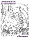 Dragon Line Art to Color Digital Download by lady-cybercat