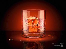 3d icon (a glass of whiskey) by krolone