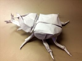 Origami Japanese Rhinoceros Beetle by Pineapple29