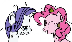 Rarity and Pinkie Pie: Messed Up Mane by Closer-To-The-Sun