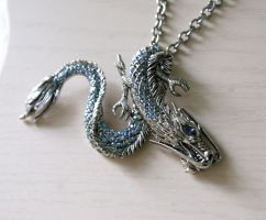 Ice Dragon Necklace by MonsterBrandCrafts