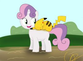 Sweetie Belle and Pikachu by cipherpie