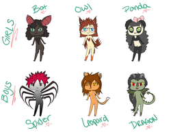 Adoptables by maniacalmarie16