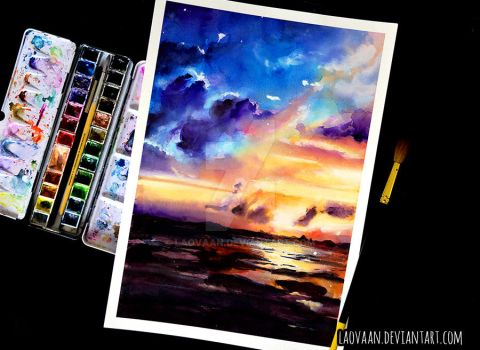 Watercolor Painting - Sunset by Laovaan