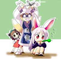 Trying to eat the reisen by Kassycat