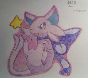 Drawn Espeon by CrimsonRoseMaster
