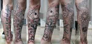 BMX Lettering Leg Sleeve by 2Face-Tattoo