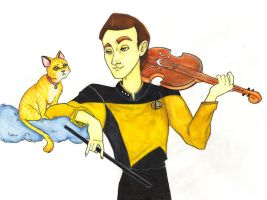 Data and Spot, aquarela paint by BewitchedCat