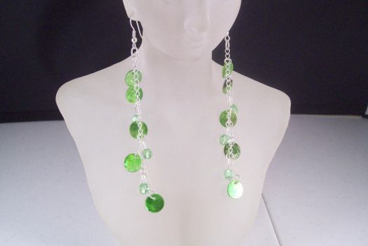 Green Shell and Swarovski Crystal Long Earrings by hottyblond2000