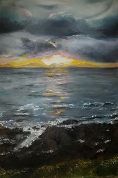 Clover point Sunset- A finger painting  by oilpastelpainting