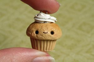 Kawaii Clay Cupcake Charm by RawrRufus
