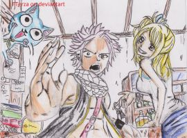 natsu lucy and happy finished by FTerza