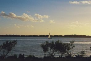 Sailboat at Sunset by leosauthier