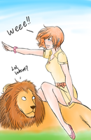 Girl on lion Commission by Manjimaru