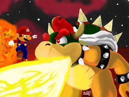 Mario vs. Bowser by ShiroDeity