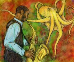 Sax Guy with Octopus by KellyCDB