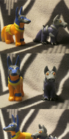 Neopets: Desert and Mutant Lupe Plushie sculptures by Iron-Zing