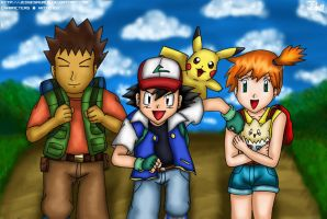 Ash, Brock + Misty by Jedgesaurus