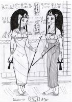 Bastet and Sakhmet by Dungeon-Spirit